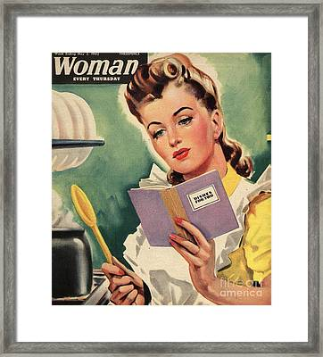 Woman 1942 1940s Uk Cooking Women Framed Print by The Advertising Archives