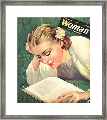 Woman 1942 1940s Uk People Reading Book Framed Print by The Advertising Archives