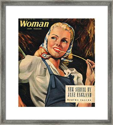Woman 1944 1940s Uk Womens Portraits Framed Print