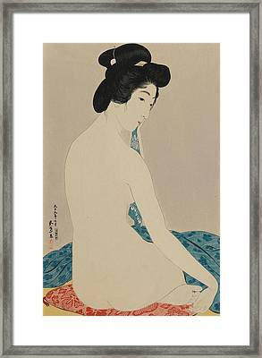 Woman After A Bath Taisho Era Framed Print