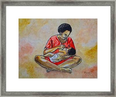 Framed Print featuring the drawing Woman And Child by Anthony Mwangi