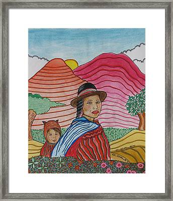 Woman And Child Framed Print by Charles  Daley