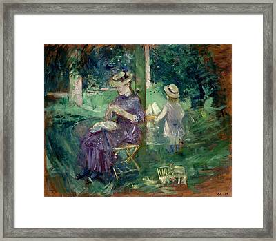 Woman And Child In A Garden Framed Print by Berthe Morisot
