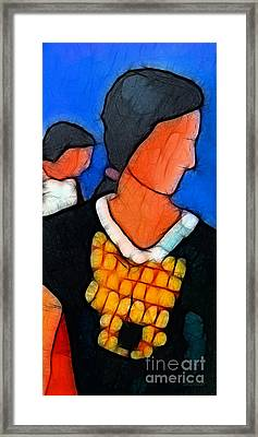 Woman And Child Framed Print by Lutz Baar