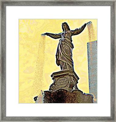 Woman And Flowing Water Sculpture At Fountain Square Framed Print