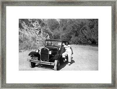 Woman And Her Model A Ford Framed Print