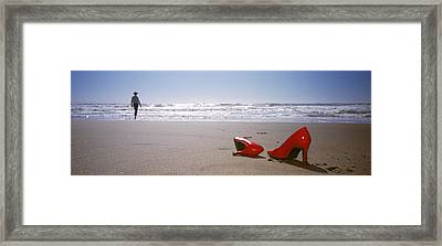 Woman And High Heels On Beach Framed Print by Panoramic Images