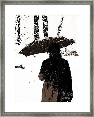 Woman And Rain Framed Print by Yury Bashkin