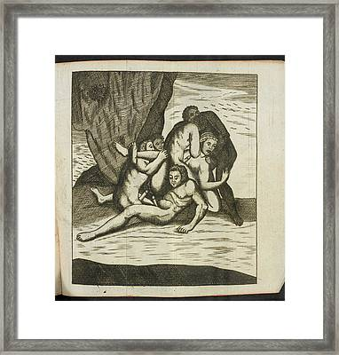 Woman And Several Men Having Sex Framed Print by British Library
