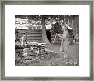 Woman And View Camera 1910 Framed Print by Martin Konopacki Restoration