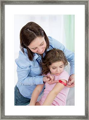 Woman Applying Plaster To Girl's Arm Framed Print by Lea Paterson