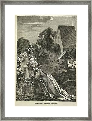 Woman At A Grave Framed Print by British Library