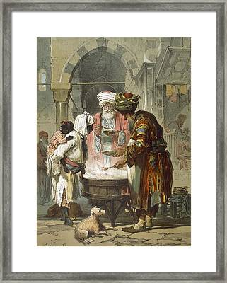 Woman At A Street Fountain Framed Print by Amadeo Preziosi