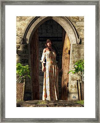 Woman At A Medieval Door Framed Print