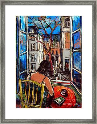 Woman At Window Framed Print by Mona Edulesco