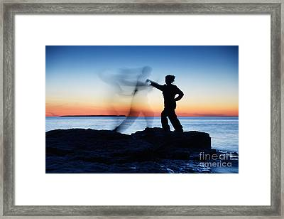 Woman Attacking A Ghost Shadow Of A Man Framed Print by Oleksiy Maksymenko