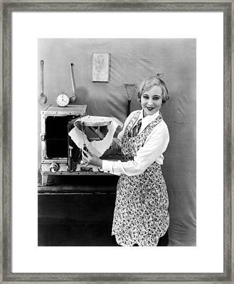 Woman Baking A Pie Framed Print