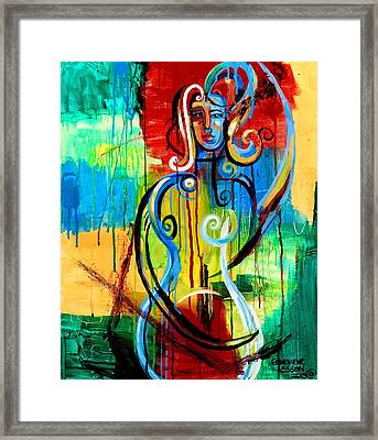 Woman Bass Framed Print by Genevieve Esson