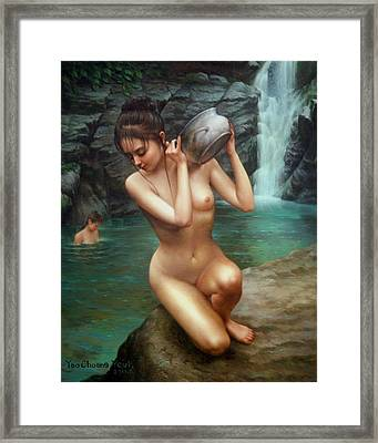 Woman Bathing In The Falls Framed Print