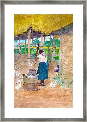 Woman Beating Cassava Jamaica Framed Print