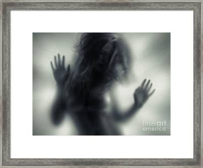 Woman Blurred Silhouette Behind Glass Framed Print by Oleksiy Maksymenko