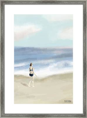 Woman By The Sea Framed Print by Beverly Brown
