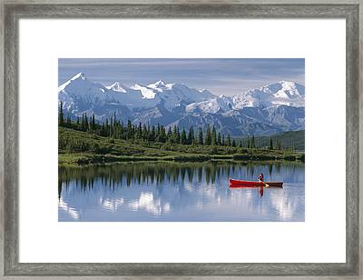 Woman Canoeing In Wonder Lake Alaska Framed Print by Michael DeYoung