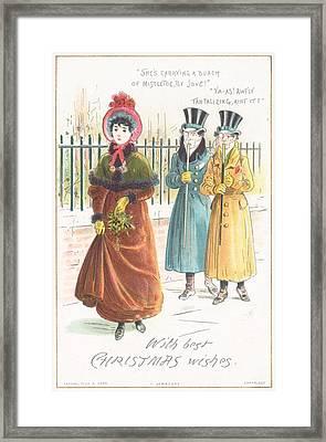 Woman Carrying Bunch Of Mistletoe Framed Print by English School