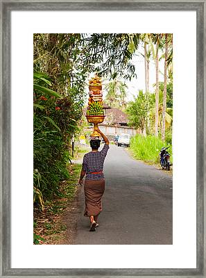 Woman Carrying Offering To Temple Framed Print