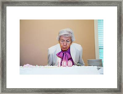 Woman Celebrating Her 100th Birthday Framed Print