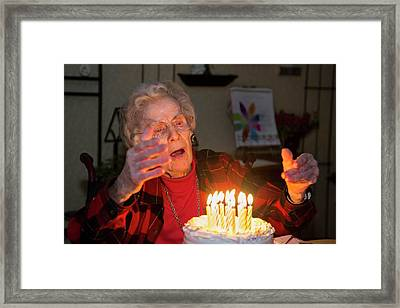 Woman Celebrating Her 99th Birthday Framed Print