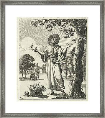 Woman Collects Fruits, Jan Luyken, Pieter Arentsz II Framed Print