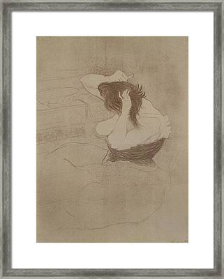 Woman Combing Her Hair, From Elles, 1896 Framed Print by Henri de Toulouse-Lautrec