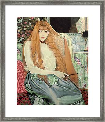 Woman Combing Her Hair Framed Print by Louis Anquetin