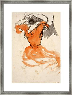 Woman Combing Her Hair Framed Print by Ricard Canals