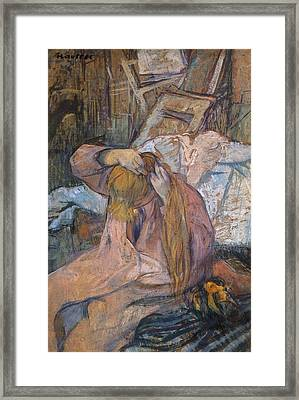 Woman Combing Her Hair Framed Print by Toulouse-Lautrec