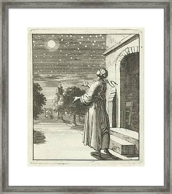 Woman Contemplating The Moon And Stars, Jan Luyken Framed Print by Quint Lox