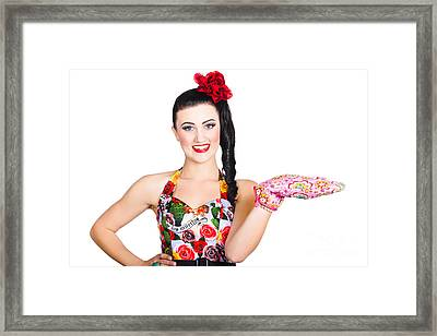 Woman Cook Displaying Menu And Recipe Copyspace Framed Print by Jorgo Photography - Wall Art Gallery