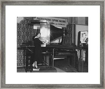 Woman Demonstrates 1930 Copier Framed Print by Underwood Archives