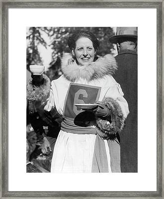 Woman Dog Sled Racer Framed Print