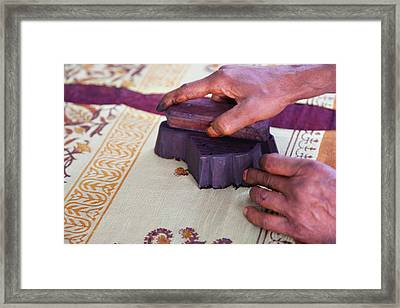 Woman Doing Block Print On Fabric Framed Print by Keren Su