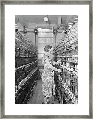 Woman Doubling Silk At The William Framed Print by Stocktrek Images