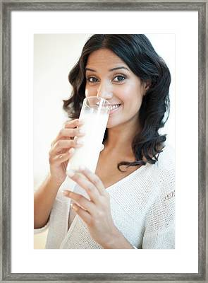 Woman Drinking Milk Framed Print