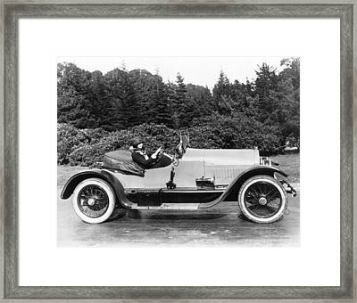 Woman Driving A Stutz Roadster Framed Print by Underwood Archives