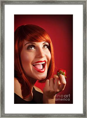 Woman Eat Strawberry Framed Print by Anna Om