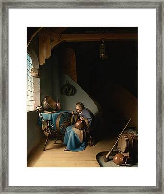 Woman Eating Porridge Framed Print by Gerard Dou