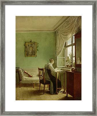 Woman Embroidering, 1812 Oil On Canvas Framed Print