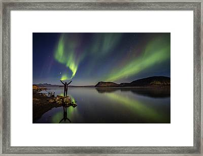 Woman Enjoying The View Of The Northern Framed Print by Panoramic Images