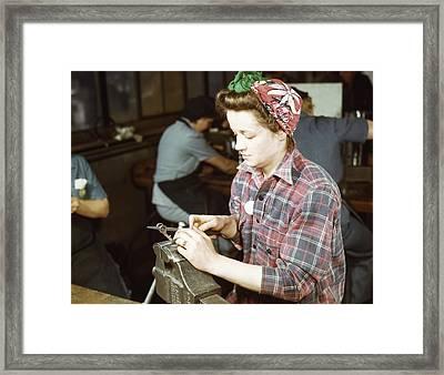 Woman Filing Small Gun Parts, 1943 Framed Print by Stocktrek Images