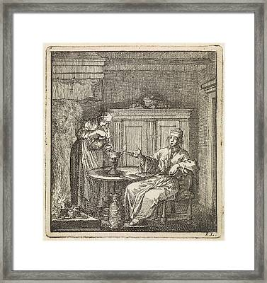 Woman Fills A Burning Oil Lamp, Jan Luyken Framed Print